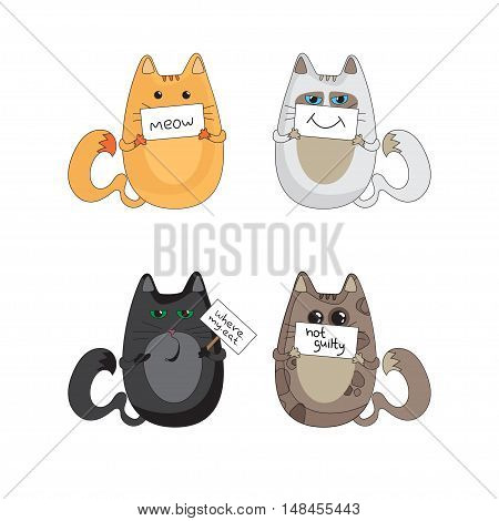 illustration of four cats holding plaque with words