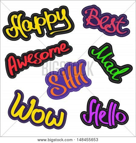 Set of trendy colorful funny pin badges with words and phrases. Collection of bright awesome cartoon style patches and stickers with text. Accessory best for denim apparel t-shirts etc. Vector illustration