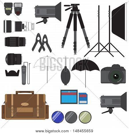 Photographer Studio Equipment Set Isolated On White Vector Images