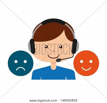 call center operator avatar vector illustration design
