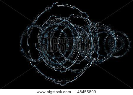 3d hologram futuristic interface. colors line and form. 3D rendering, 3D illustration