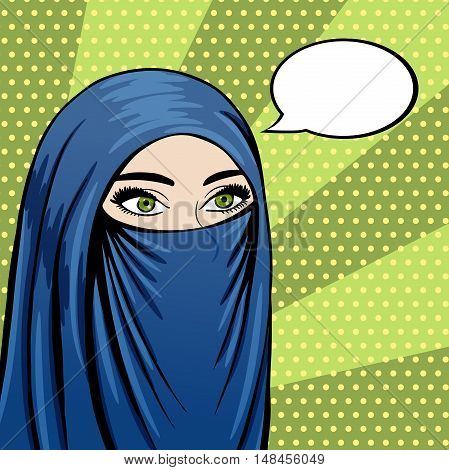 Veiled muslim woman in Niqab pop art comics style. Vector Arabic woman face with speech bubble.