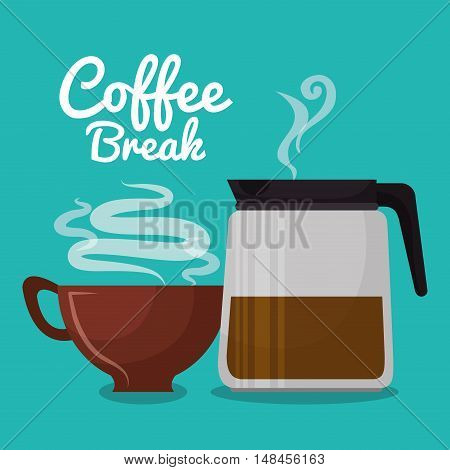 coffee maker glass and cup brown coffee graphic vector illustration eps 10