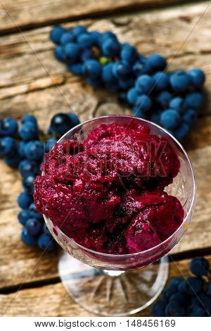 Concord grape sorbet. style vrustic. selective focus