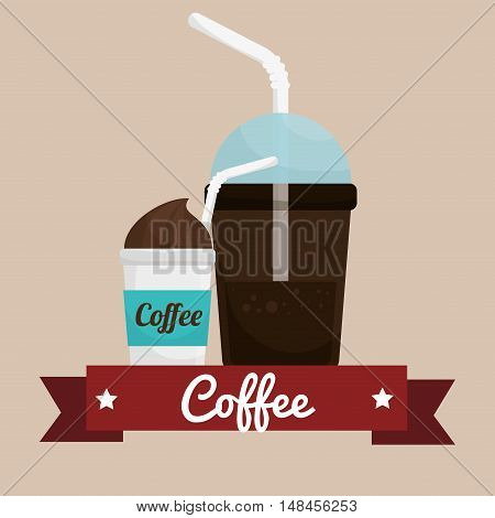 coffee cup plastic banner graphic vector illustration eps 10