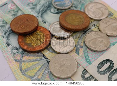 Czech crowns consisting of banknotes and coins