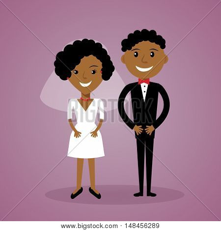 Cartoon afro-american bride and groom. Cute black wedding couple in flat style. Can be used for wedding invitation, save the date and thank you card.