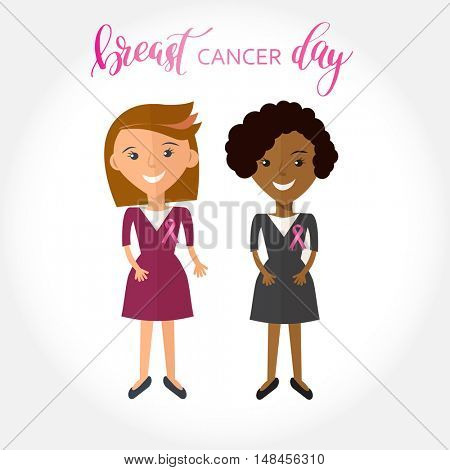 Stock vector illustration of two womans with silk pink ribbon. Awareness of breast cancer. Friends portrait with breast cancer silk pink ribbon and lettering phrase