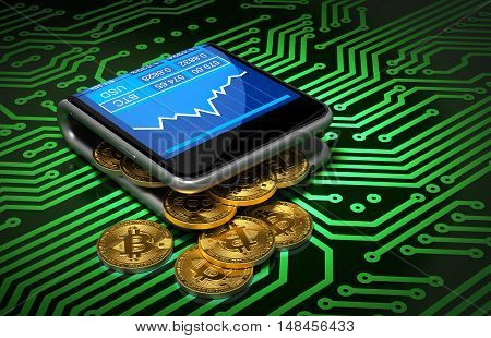 Concept Of Digital Wallet And Bitcoins On Green Printed Circuit Board. Gold Bitcoins Spill Out Of The Curved Smartphone. 3D Illustration.