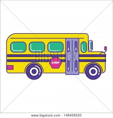 School Bus Icon In Trendy Cartoon Flat Line Style. Mass Transit Vehicle For Schoolkids Symbol. Autob