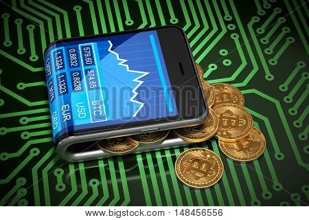 Concept Of Virtual Wallet And Bitcoins On Green Printed Circuit Board. Gold Bitcoins Spill Out Of The Curved Smartphone. 3D Illustration.