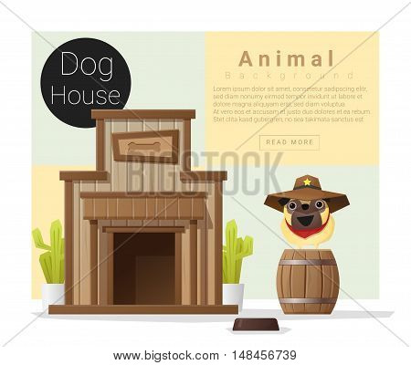 Cute animal collection Dog house , vector , illustration
