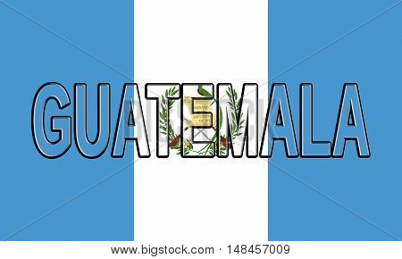 Illustration of the flag of Guatemala with the country written on the flag