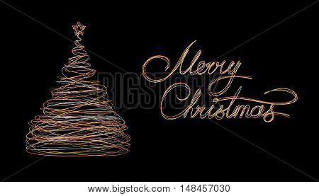 Christmas Tree And Text Marry Christmas Made Of Gold White Grey And Pink Wire On Black Background. 3D Illustration.