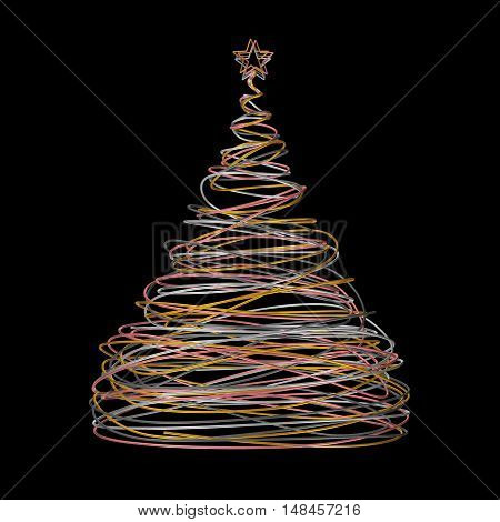 Christmas Tree Made Of Gold White Grey And Pink Wire On Black Background. 3D Illustration.