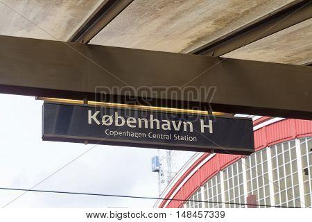 A Central Station sign in Copenhagen, Denmark
