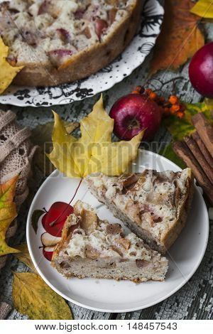 Fresh baked apple pie with poppy seeds and hot chocolate
