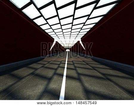 Abstract illuminated empty corridor interior. 3D rendering.