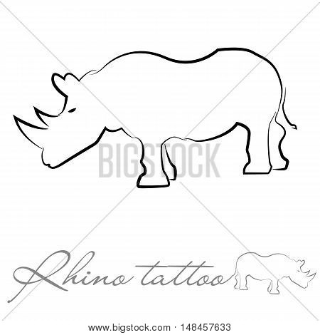 silhouette of a rhinoceros for tattoo logo