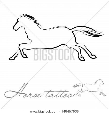 silhouette of a horse for tattoo logo