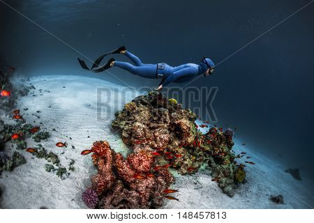 Freediver gliding underwater over vivid coral reef