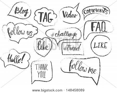 Vector speech bubbles with phrases Blog, Tag, like, trend, challenge, faq. Hand drawn speech bubbles, blog label in grunge style with hashtag.