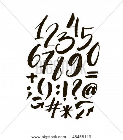 Collection of hand drawn numbers and orthographic symbols. Ink illustration. Modern brush calligraphy. Isolated on white background.