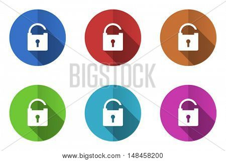 Flat design security vector icon. Eps 10 web colorful buttons.