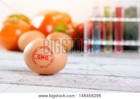 Eggs With Gmo Modified Stamp. Genetically Modified Food Conception