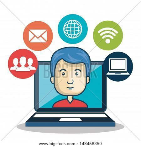 cartoon guy laptop media connection graphic vector illustration eps 10