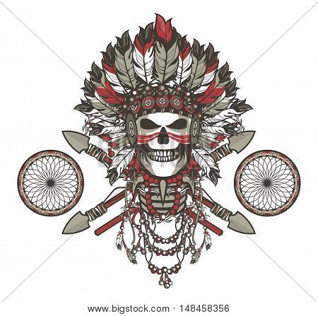 vector illustration of a dead Indian chief in a headdress of feathers and attributes of power