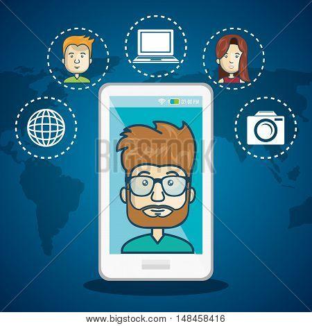 cartoon smartphone man internet connection world graphic vector illustration eps 10