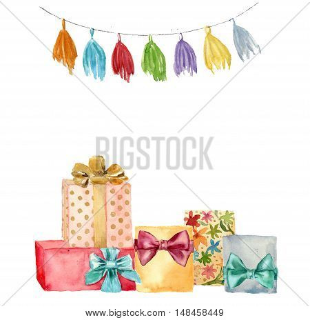 Watercolor greeting card. Hand painted illustration with tassel garland and birthday gifts set with bow isolated on white background