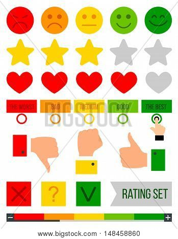 Rating set. Rank level of satisfaction rating. Feedback vector concept. Vector illustration