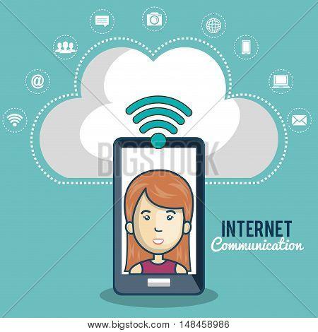 cartoon women smartphone cloud connection web vector illustration eps 10