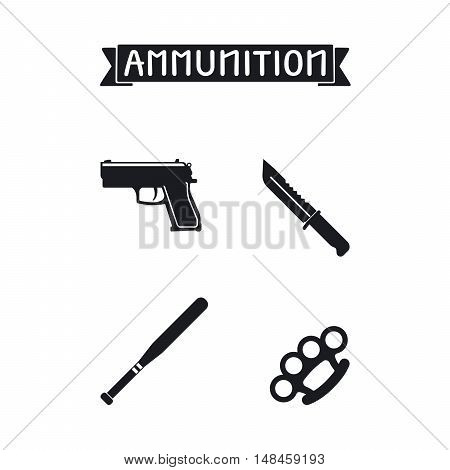 Ammunition icons set. Gun and knife, knuckle and duster batoon vector illustration