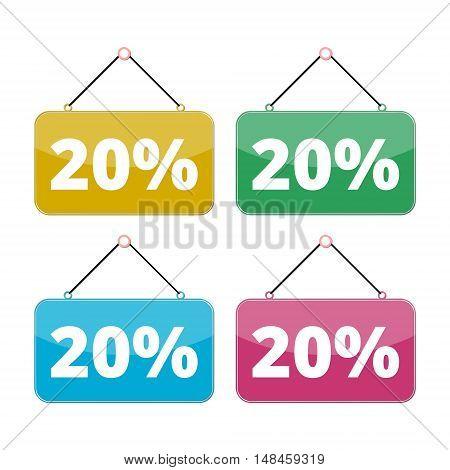 20 percent sale icon set, Discount 20%, four color