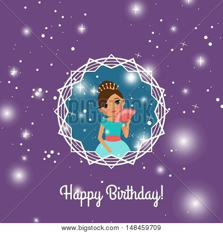 Happy Birthday violet greeting card with fairy princess. Vector illustration