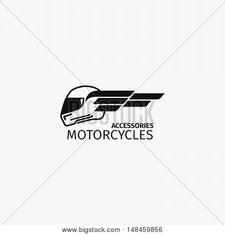 Motorcycles accessories mono color logotype or motorbike label. Vector illustration