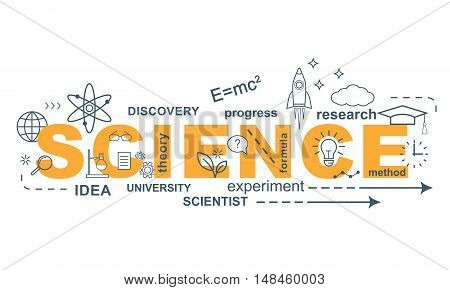 SCIENCE concept. Thin line flat design banner for website and mobile website, easy to use and highly customizable.