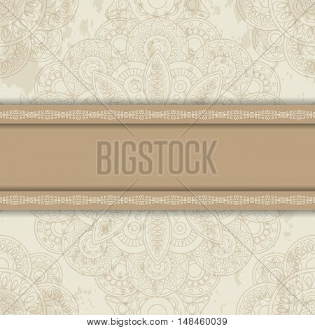 Background with round ornament retro srtyle with horizontal stripe. Vector illustration