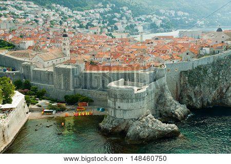 view overlooking the town. Dubrovnik in Croatia