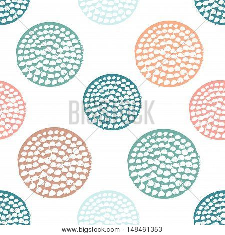 Colorful textured circle seamless pattern blue, pink, orange, green round grunge polka dot, wrapping paper. Vector illustration.