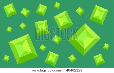 beautiful pattern with emeralds against the dark green illustration