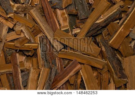 The pile of chopped firewood randomly scattered