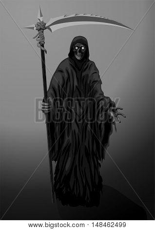 Death skeleton grim Reaper scytheman with scythe suitable for Halloween celebration logo sign. Vector closeup black white vertical illustration on dark background.