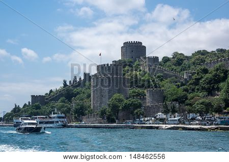 ISTANBUL TURKEY - JUNE 25 2015: Rumelihisari (also known as Rumelian Castle and Roumeli Hissar Castle) is a fortress located in Istanbul Turkey on a hill at the European side of the Bosphorus