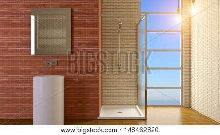 The Bathroom Lonely Bachelor Apartment. 3D Visualization