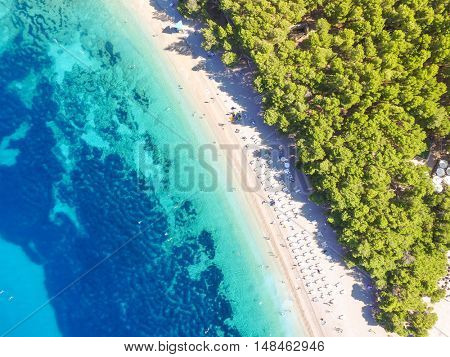 Aerial view of Zlatni Rat on the island of Brac, in Bol, Croatia