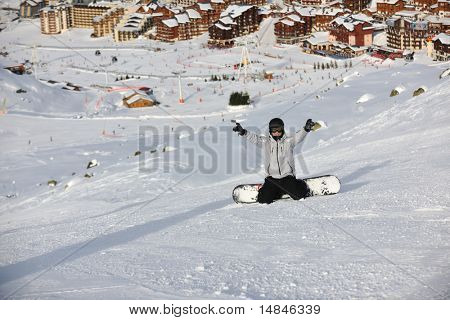 young athlete man have fun during skiing sport on hi mountain slopes at winter seasson and sunny day